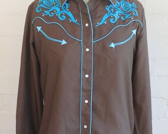 Rhinestone cowboy shirt brown with turqouise embroidery