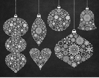 Christmas Ornaments Clipart Christmas Clipart Snowflake Garlands Clipart Chalkboard Bauble Clipart Christmas Tree Decorations Scrapbooking