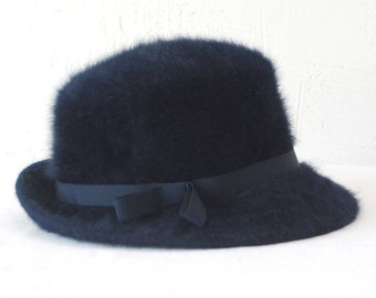 60s 70s Kangol hat. rabbit hair hat. navy fedora