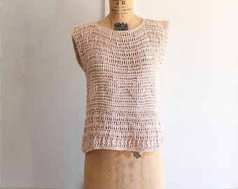 chunky loose knit cotton short sleeve sweater in blush 80s