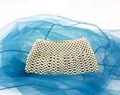 Vintage 30s Bead Clutch Purse Small White Wood Bead Purse w Glove Holder