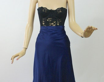 Vintage 40s Val Mode Half Slip Navy taffeta w Knife Pleat Hem Metal Side Zipper Size 28