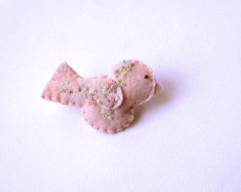 """Handmade Felt Bird Brooch or Pin In Peach with Aqua, Pink and Green Embroidered and Beaded Floral Embellishments, 2.75 x 1.5"""" Bird Pin"""