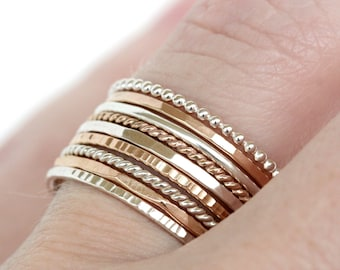 Set of 9 - Skinny Stack Rings - Sterling Silver and gold fill mixed metals - 9 texture set, 2 tone, 2 metals, 2 color ring set