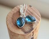 Dainty London Blue Topaz Gemstone Drop Earrings - Petite Teardrop Gemstone
