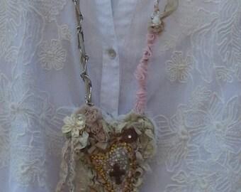 Faith Textile Art Necklace, Handmade Fabric Heart Cross Necklace, Shabby Chic Romantic Tan, Whites & Creams, Mixed Media, Wearable Art