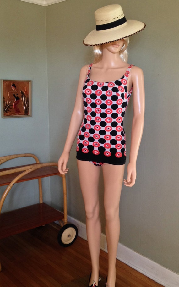 1950s 1960s Atomic One Piece Salmon and Black Dot Bathing Suit with Built in Bra-XS
