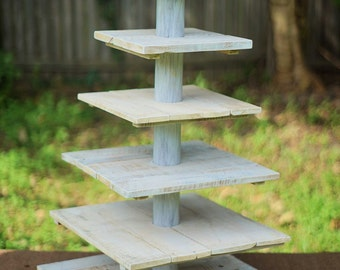 Rustic Wedding Cupcake Stand Whitewashed. 6 Tier.