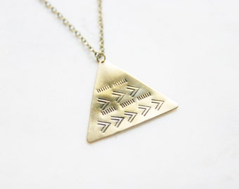 Large Tribal Chevron Geometric Necklace | Hand Stamped | Layering Tribal Necklace | Boho Necklace | Bridal Jewelry Wedding