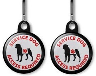 Black Service Dog Access Required Medical Alert 2-Pack of Zipper Pull Charms (Choose Size and Backing Color)