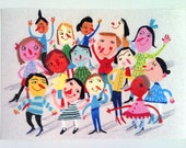 big group photo - Print of an original drawing - Funny lady and men - people - Joy-Children illustration-- blue red grin pink drawing