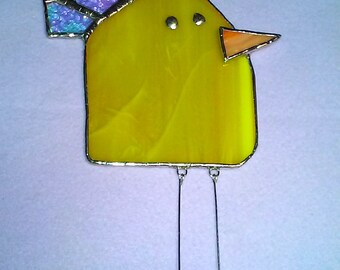 LARGE Bird #2 Stained Glass Suncatcher with crown and dangling legs, Kid's Drawing Series