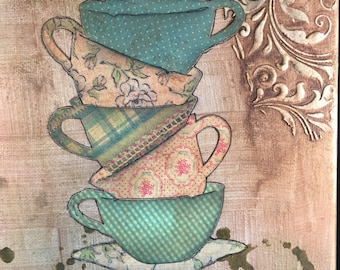 Teacups on Canvas