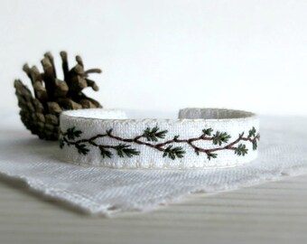 Embroidered Cuff Bracelet - Woodland Bracelet - Hand Embroidered
