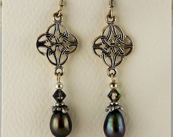 Irish Sterling silver Celtic Knot earrings with Freshwater pearls & Swarovski crystals