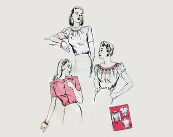 1940s Blouse Pattern Smocked Peasant Shirred Day Tuck In Blouse Fitted Short Sleeves Butterick 3051 Bust 32 UNPRINTED Vintage Sewing Pattern