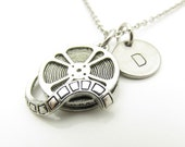 Film Reel Necklace, Film Maker Necklace, Movie Necklace, Personalized, Initial Necklace, Antique Silver Film Reel, Stamped Initial Y325