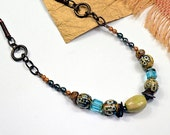 Sling Boho.. Solvang, Carmel Blue, Ceramic, Glass, Leather, Mixed Media Necklace cbbsn12