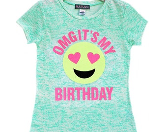 Birthday Shirt, Girls Emoji Shirt, Glitter Shirt, Birthday Number Shirt, Birthday Girl, Tween Shirt, Emoji Face, Emoji Birthday