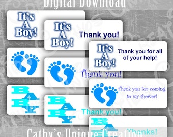 Baby Boy Baby Shower Thank you Labels It's a Boy labels Baby Feet Printable Letter PDF INSTANT digital download DIY