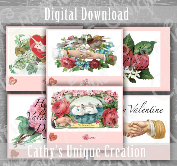 Vintage Valentines Day cards Printable