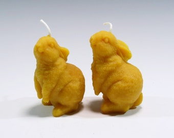 Two Beeswax Bunny Rabbit Candles Wildlife Candles Woodland Candle Nature Candle Honey Scented Woodland Candle Bunny Candle Rabbit Candle