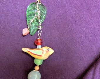 Jewelry Pendant, Bird Pendant, Glass Beads , Clay Bird, Hand Painted Bird, Dangling Pendant, Woman's Gift, Teen Jewelry Gift, Boho Style