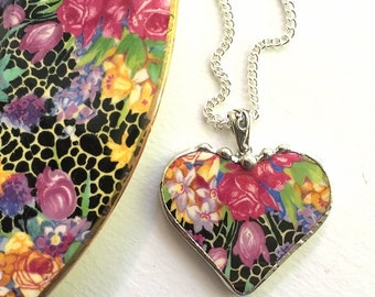 Broken china necklace. Broken china jewelry heart pendant antique Hazel chintz recycled china