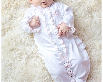 Baby Girl Coming Home Outfit-Baby Girl-Baby Girl Take Home Outfit-June's Pink Trim Ruffled Footed Sleeper-Baby clothes-Pima Cotton Baby