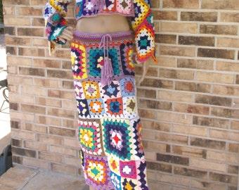 Hand Crochet Granny Square Skirt, Festival Cothing, Clubwear, Summer Skirt, Hippie Chic Skirt, Crochet Hippie Skirt, MADE TO ORDER
