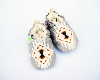 Organic Knits Tribal Dreamcatcher / All Fabric Soft Sole Baby Shoes / Made to Order / Babies