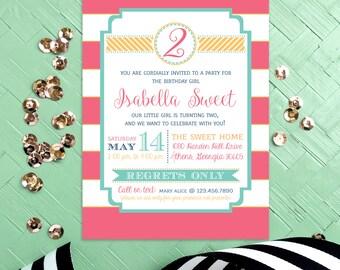 Girl Birthday Party Invitation Preppy Stripes Pink Nautical Baby Announcement Printable DIY Invite