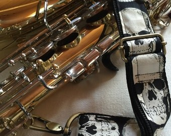 "Saxophone Neck Strap, 1.5"", Black Skulls, Brass Hardware"