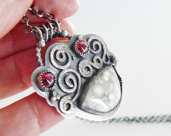 Silver pendant with ocean jasper - red garnet pendant - earthy silver pendant - handmade - artisan crafted