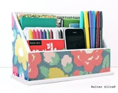 Floral Patterned Cross stitch Letter Sorter - Decoupage Home Office Organizer - Modern Themed Decor - Back to School Organizer