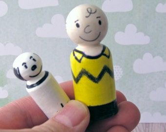 Charlie Brown and Snoopy Peg Dolls - Wooden Playtime Toys - Minature Wooden People - Doll house item