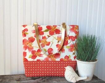 Floral Tote Bag, Large Totebag, Red Poppies Handbag, Summer Totebag, Leather Straps Handbag, Metallic Gold Handbag, Shoulder Bag