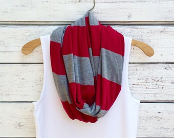 SALE -Stripe Infinity Scarf, Red and Grey Stripe Scarf, Jersey Infinity Scarf, Circle Scarf, Winter Scarf, Fashion Accessories College Scarf
