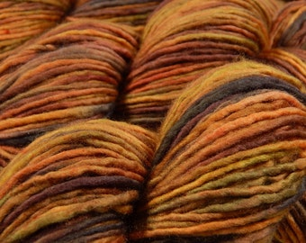 Hand Dyed DK Yarn - DK Weight Superwash Merino Wool Singles Yarn - Nutmeg Multi - Knitting Yarn, Wool Yarn, Single Ply Yarn, Earthtones