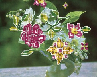 Visual Arrangement IV - Limited Edition Glicee Print - Green, Yellow and Pink Cross Stitch Flowers Collage - Vintage Home Wall Decor