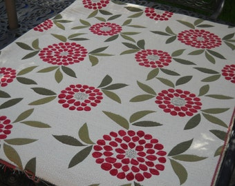 Upholstery Fabric, Cream with Abstract Red Flowers, Beautiful, By the Yard, Two Yards Available