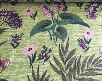"40s Co FAB CO Vat Print//""Sylvan""//Rayon/Cotton Shantung//Purple, Pink Daisies,Taupe Lilies, Evergreen Leaves, Spring Green Ground"