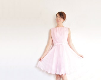 mod pastel pink confection dress . sheer pleated skirt . velvet bow tie belt .small