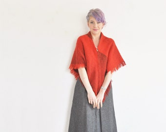 tartan wool cape sweater . woven red fringe poncho .small.medium.large .sale