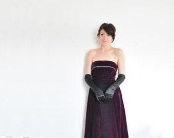 plum aubergine velvet gown . rhinestone crystal trim formal dress .small .sale