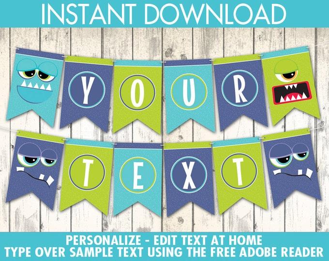 Monster Party Banner - Monster Birthday, Monster Mash, Monsters Inc, Halloween, Pennant | Instant Download PDF Printable Kit