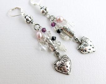 Strawberry Vine Freshwater Pearl and Swarovski Crystal Earrings - Three Strand Earrings - pink, amethyst, black, rose pearl, white - G-123