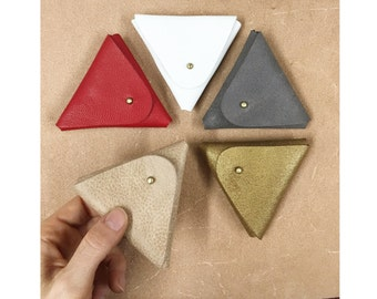 Coin Leather Purse - Mini leather wallet - Change Purse - Geometric - Small Leather Purse - Triangle Purse - Coin Pouch - Minimalist Wallet