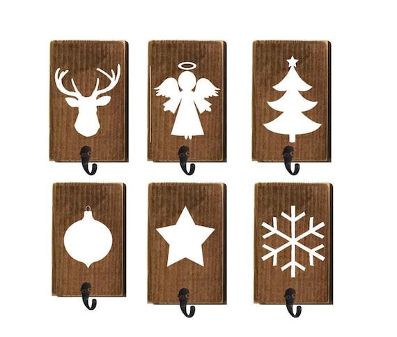 stocking holders reclaimed wood set of 6 stocking hanger. Black Bedroom Furniture Sets. Home Design Ideas