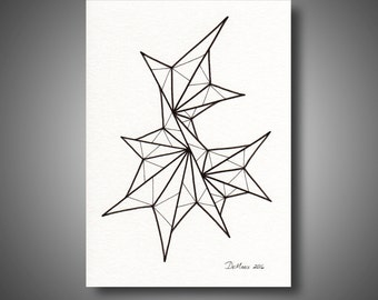 5 x 7 Original freehand drawing - black and white abstract art - marker on watercolor paper - modern home decor - NOT a print (B183)